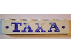 Part No: crssprt02pb84  Name: Brick 1 x 6 without Bottom Tubes with Cross Side Supports with Blue 'TAXA' and Dots Bold Pattern