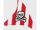 Part No: sailbb33  Name: Cloth Sail Triangular with Red Stripes, Skull with Eyepatch and Crossbones Pattern