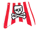Part No: sailbb34  Name: Cloth Sail 27 x 22 Top with Red Stripes, Skull with Eyepatch and Crossbones Pattern