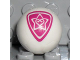 Part No: x45pb06  Name: Sports Soccer Ball with 2 Magenta Outlined Heart and Star Pattern