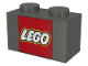 Part No: 3004px8  Name: Brick 1 x 2 with Lego Logo in Red Square Pattern