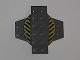 Part No: 30303pb01  Name: Plate, Modified 6 x 6 x 2/3 Cross with Dome and Black and Yellow Danger Stripes Pattern