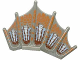Part No: 40385px1  Name: Dinosaur Sail Fin with Orange, Maroon, Light Blue, and White Scale Pattern