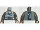 Part No: 973pb0193c01  Name: Torso Coca-Cola Logo with V-Neck Shirt, Back Stripe and 4 Buttons Pattern / Dark Gray Arms / Black Hands