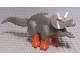 Part No: Tricera03  Name: Dinosaur, Triceratops with Dark Orange Legs