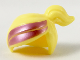 Part No: 15427pb04  Name: Minifigure, Hair Female Ponytail Off-center with Shiny Pink Stripes Pattern