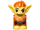 Part No: 28614pb06  Name: Body / Head Goblin with Pointed Ears, Bright Light Orange Spiked Hair and Tunic with Utility Belt with Goblin Eye Buckle, Drumsticks and Music Pattern