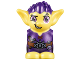 Part No: 28614pb08  Name: Body / Head Goblin with Pointed Ears and Dark Purple Spiked Hair and Tunic with Utility Belt with Goblin Eye Buckle, Slingshot and Flask Pattern