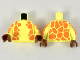 Part No: 973pb3438c01  Name: Torso with Orange Giraffe Spots on Sides and Back Pattern / Bright Light Yellow Arms with Orange Giraffe Spots Pattern / Reddish Brown Hands