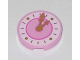 Part No: 14769pb107  Name: Tile, Round 2 x 2 with Bottom Stud Holder with Dark Pink Clock with Gold Hands Pattern
