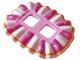 Part No: 24087pb03  Name: Minifigure, Skirt Plastic, Ruffled (Ballerina Tutu), White and Dark Pink Panels, Silver Stars, Orange Border Pattern
