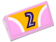 Part No: 85984pb153  Name: Slope 30 1 x 2 x 2/3 with 2 Pink Quadrants, Curved White Stripes and Dark Purple Number 2 on Bright Light Orange Background Pattern (Sticker) - Set 41133