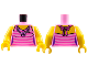 Part No: 973pb1978c01  Name: Torso Female Top with Dark Pink Stripes and Flower Necklace Pattern / Yellow Arms / Yellow Hands