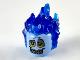 Part No: 26990pb04  Name: Minifigure, Head Modified Alien with Trans Dark Blue Flaming Hair, Bright Light Orange Eyes with Dark Bluish Gray Rings, Sharp Teeth Pattern