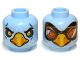 Part No: 3626cpb0831  Name: Minifig, Head Dual Sided Alien Chima Eagle with Beak, Yellow Eyes / Orange Goggles Pattern - Stud Recessed