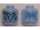 Part No: 3626cpb1351  Name: Minifigure, Head Alien with Blue Speckles, White Eyes, Computer Chip on Right Side, Angry Mouth Pattern - Hollow Stud