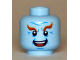 Part No: 3626cpb1545  Name: Minifigure, Head Male Dark Orange Eyebrows, Black Eyes, White Pupils, Wrinkles, Open Mouth Smile, Teeth and Tongue Pattern (Mr. Freeze) - Hollow Stud