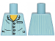 Part No: 973pb1024  Name: Torso Pajamas 4 Buttons and Vertical Light Aqua Stripes Pattern