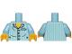 Part No: 973pb1024c01  Name: Torso Pajamas 4 Buttons and Vertical Light Aqua Stripes Pattern / Bright Light Blue Arms with Light Aqua Stripes / Yellow Hands