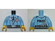 Part No: 973pb2169c01  Name: Torso Police Male Jacket with Zipper, Dark Blue Tie, Gold Badge, Radio and 'POLICE' Pattern on Back / Bright Light Blue Arms / Yellow Hands