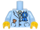 Part No: 973pb2398c01  Name: Torso Suit Jacket with Blue and Gold Striped Tie, Blue 1st Place Ribbon, Dog Treat in Pocket Pattern / Bright Light Blue Arms / Yellow Hands