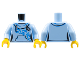 Part No: 973pb2680c01  Name: Torso Female Hoodie with White Laces, Blue Scrollwork, Kangaroo Pocket Pattern / Bright Light Blue Arms / Yellow Hands