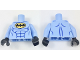 Part No: 973pb2890c01  Name: Torso Batman Logo in Yellow Oval with Blue Muscles Pattern / Bright Light Blue Arms / Black Hands