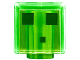Part No: 19729pb021  Name: Minifig, Head Modified Cube with 3 Dark Green Squares Pattern (Minecraft Slime)