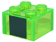 Part No: 3003pb096  Name: Brick 2 x 2 with Large Dark Green Square Pattern (Minecraft Slime)