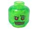 Part No: 3626cpb1342  Name: Minifigure, Head Alien with Red Eyes and Silver Teeth Pattern - Hollow Stud