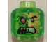 Part No: 3626cpb1346  Name: Minifigure, Head Alien Split Face Angry, Normal Left Side with Yellow Skin and Stubble, Burned Right Side with Red Eye Pattern - Hollow Stud