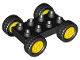 Part No: 12591c02  Name: Duplo Car Base 2 x 4 with Fixed Axles, Black Tires and Yellow Wheels