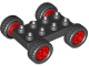 Part No: 12591c03  Name: Duplo Car Base 2 x 4 with Fixed Axles, Black Tires and Red Wheels