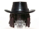 Part No: 13748pb01  Name: Minifig, Hair Combo, Hat with Hair, Cowboy Gambler Style with Long Dark Brown Hair