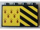 Part No: 14718pb015  Name: Panel 1 x 4 x 2 with Side Supports - Hollow Studs with 8 Red Spires and Black and Yellow Stripes Pattern (Sticker) - Set 75956
