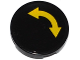 Part No: 14769pb100  Name: Tile, Round 2 x 2 with Bottom Stud Holder with Yellow Curved Arrow Double on Black Background Pattern (Sticker) - Set 60095
