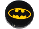 Part No: 14769pb102  Name: Tile, Round 2 x 2 with Bottom Stud Holder with Batman Logo Oval Pattern (Sticker) - Set 76053