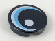 Part No: 14769pb242  Name: Tile, Round 2 x 2 with Bottom Stud Holder with Large Eye with White Glint and Medium Azure Iris Pattern