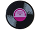 Part No: 14769pb244  Name: Tile, Round 2 x 2 with Bottom Stud Holder with Vinyl Record with Magenta Label Pattern