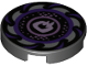 Part No: 14769pb251  Name: Tile, Round 2 x 2 with Bottom Stud Holder with Dark Purple and Silver Sawblade, Circles in Center Pattern