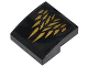 Part No: 15068pb012  Name: Slope, Curved 2 x 2 No Studs with Gold Feathers Pattern (Sticker) - Set 70124