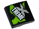 Part No: 15068pb021  Name: Slope, Curved 2 x 2 No Studs with Lime, Silver and White 'XTREME' Pattern (Sticker) - Set 60085