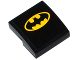 Part No: 15068pb022  Name: Slope, Curved 2 x 2 No Studs with Yellow Batman Logo Pattern (Sticker) - Set 76027