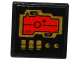 Part No: 15210pb022  Name: Road Sign Clip-on 2 x 2 Square Open O Clip with Red Screen, 2 Gold Knobs and 3 Switches Pattern (Sticker) - Set 70738