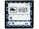 Part No: 15210pb052  Name: Road Sign Clip-on 2 x 2 Square Open O Clip with Black T. rex Head, Sound File on Computer Screen Pattern (Sticker) - Set 75918