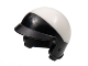 Part No: 15851pb01  Name: Minifigure, Headgear Helmet Motorcycle Open Face, with Visor and White Top Pattern