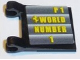 Part No: 2335pb165  Name: Flag 2 x 2 Square with Yellow 'P1 WORLD NUMBER 1' Pattern (Sticker) - Set 8168