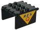 Part No: 2337pb01  Name: Windscreen 4 x 4 x 2 Canopy Extender with Black 'R.E.S.' and Red 'Q' on Yellow Triangle Pattern on Both Sides (Stickers) - Set 6445