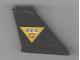 Part No: 2340pb015  Name: Tail 4 x 1 x 3 with Black 'R.E.S.' and Red 'Q' on Yellow Triangle Pattern on Right Side (Sticker) - Set 6451