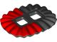 Part No: 24087pb02  Name: Minifigure, Skirt Plastic, Ruffled (Ballerina Tutu) with Red Half Pattern